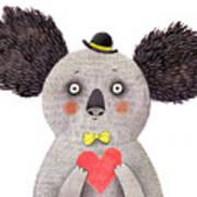 Koala With Heart. Watercolor And Pencil Art Print