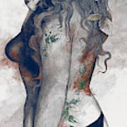Koi No Yokan - Blue Rust - Erotic Drawing, Sexy Tattoo Girl In Thong Biting An Apple Art Print