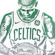 Kyrie Irving Boston Celtics Water Color Pixel Art 30 Art Print
