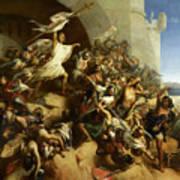 La Defense De L'ile De Rhodes Par Foulques De Villaret Art Print
