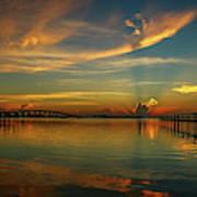 Lagoon Sunbeam Sunrise Art Print