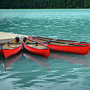 Lake Louise Canoes Art Print
