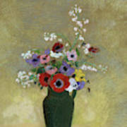 Large Green Vase With Mixed Flowers, 1912 Art Print