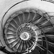 Lblack And White View Of Spiral Stairs Inside The Arch De Triump Art Print