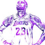 bbeb90e4581 Lebron James Los Angeles Lakers Water Color Pixel Art 30 Art Print ...