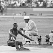 Lewis In The Long Jump At Olympics Art Print