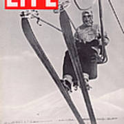 Life Cover 03-08-1937 Skier Riding The Art Print