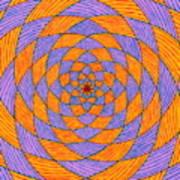 Light Violet On Blue, Yellow On Red Fractal Pattern Art Print