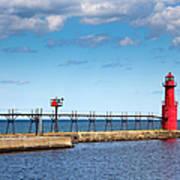 Lighthouse And Pier On Lake Michigan Art Print
