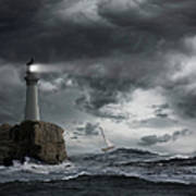 Lighthouse Shining Over Stormy Ocean Art Print