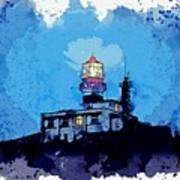 Lighthouse, Watercolor, C2019, By Adam Asar - 19 Art Print