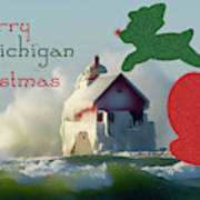 Lightouse Christmas Art Print