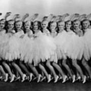 Line Of Chorus Girls In Feathered Art Print