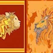 Lion Pair Hot Art Print