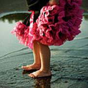 Little Girls Feet Splashing And Dancing Art Print