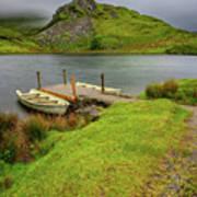 Llyn Y Dywarchen Boats Snowdonia Art Print