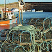 lobster pots and trawlers at Dunbar harbour Art Print