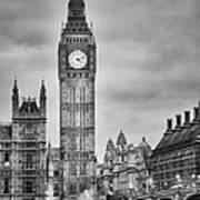 London, Big Ben, Black And White Art Print
