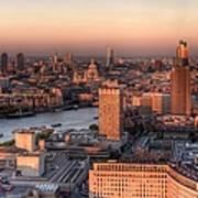 London Cityscape At Sunset Art Print