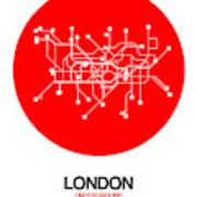 London Red Subway Map Art Print