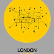 London Yellow Subway Map Art Print