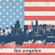 Los Angeles Skyline Flag Art Print