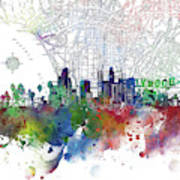 Los Angeles Skyline Map Watercolor 3 Art Print