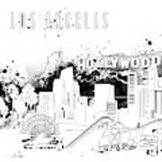 Los Angeles Skyline Panorama White Art Print