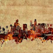 Los Angeles Skyline Vintage Art Print