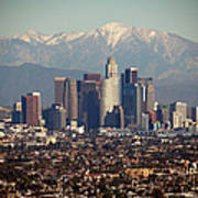 Los Angeles Skyline With Snow Capped Art Print