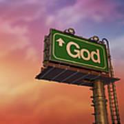 Low Angle View Of A God Billboard At Art Print