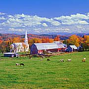 Lush Autumn Countryside In Vermont With Art Print