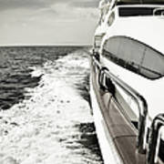Luxury Yacht Sailing At High Speed In Art Print