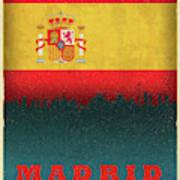 Madrid Spain City Skyline Flag Art Print