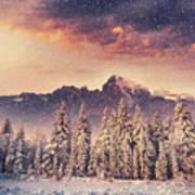 Magical Winter Landscape, Background Art Print