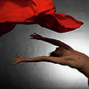Male Ballet Dancer Dancing With A Red Art Print