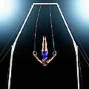 Male Gymnast Upside Down Performing On Art Print