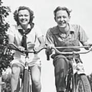 Man And Woman Riding Bikes, B&w, Low Art Print