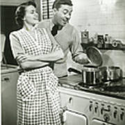 Man Looking Into Pot In Domestic Art Print