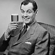 Man Sitting & Having A Beer Art Print