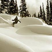 Man Snowboarding B&w Sepia Tone Art Print