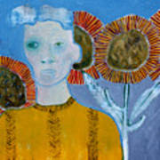 Man With Sunflowers Art Print