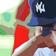 Man With Yankees Cap Art Print