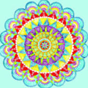 Mandala Of Many Colors On Turquoise Art Print