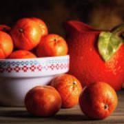 Mandarin Oranges And Orange Shaped Pitcher Art Print
