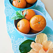 Mandarin Oranges On A Platter Art Print