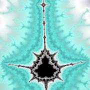 Mandelbrot Fractal Black Aqua White Vertical Art Print