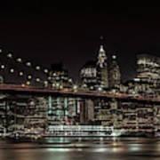 Manhattan Skyline And Brooklyn Bridge Idyllic Nightscape - Panoramic Art Print