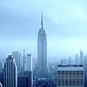 Manhattan Skyline In The Fog, Nyc. Blue Art Print