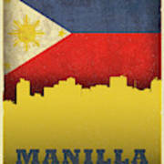 Manilla Philippines City Skyline Flag Art Print